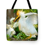Cattle Egret With Young In Nest Tote Bag