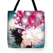 Celebration. Happy Fashion Woman Holding Balloons Tote Bag