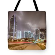 Charlotte Nc Usa Skyline During And After Winter Snow Storm In January Tote Bag