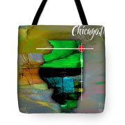 Chicago Illinois Map Watercolor Tote Bag