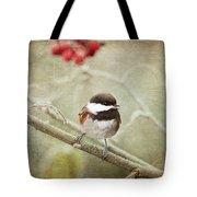 Chickadee In Winter Tote Bag