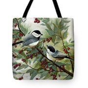 Chickadees And Cherries Tote Bag