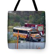 Chicken Bus In El Tizate Tote Bag