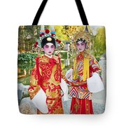Children Dressed In Full Traditional Chinese Opera Costumes. Tote Bag
