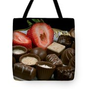 Chocolate On Plate With Strawberry Tote Bag