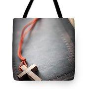Christian Cross On Bible Tote Bag by Elena Elisseeva