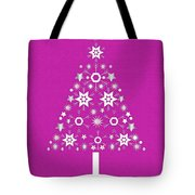 Christmas Tree Made Of Snowflakes On Pink Background Tote Bag