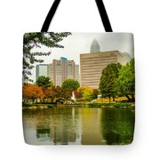 City Skyline In Fog And Rainy Weather During Autumn Season Tote Bag