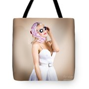 Classical Pinup Girl Posing In Retro Fashion Style Tote Bag