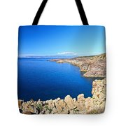 cliff in San Pietro Island Tote Bag
