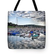 Cloudy Morning - Lyme Regis Harbour Tote Bag
