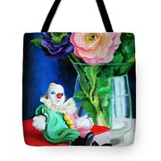 Clown Book And Flowers Tote Bag