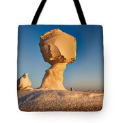 Cock And Mushroom Formation In White Desert Tote Bag
