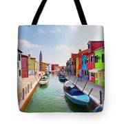 Colorful Houses And Canal On Burano Island Near Venice Italy Tote Bag