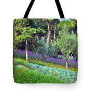 Colorful Park With Flowers Tote Bag