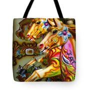 Colourful Fariground Horses On A Carousel Tote Bag