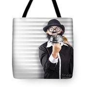 Comic Business Man Holding Big Service Bell Tote Bag