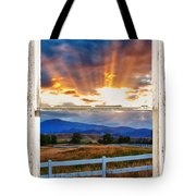 Country Beams Of Light Barn Picture Window Portrait View  Tote Bag