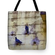 Couple Of Pigeons On A Wall Tote Bag