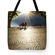 Couple On A Bench Tote Bag