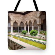 Courtyard Of The Maidens In Alcazar Palace Of Seville Tote Bag
