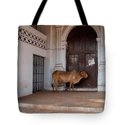 Cow At Church At Colva Tote Bag