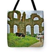 Cow By Second Century Aspendos Aqueduct-turkey Tote Bag