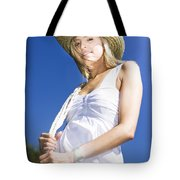 Cowgirl In Dress And Hat Tote Bag