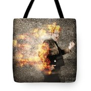 Crazy Businessman Running Engulfed In Fire. Late Tote Bag