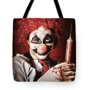 Crazy Medical Clown Holding Oversized Syringe Tote Bag