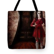 Creepy Woman With Bloody Scissors In Haunted House Tote Bag