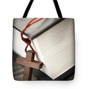 Cross And Bible Tote Bag
