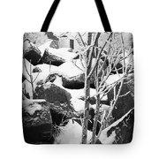 Cut Stone Blocks Backyard Snow Aberdeen South Dakota 1965 Black And White Tote Bag