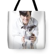 Cute Little Dog At The Vet Tote Bag by Edward Fielding