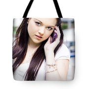 Cute Sales Woman Discussing Business Deal On Phone Tote Bag