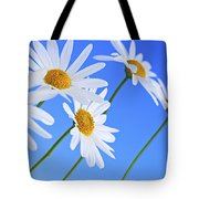 Daisy Flowers On Blue Background Tote Bag