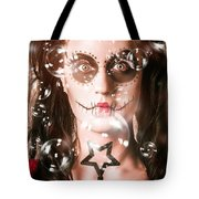 Day Of The Dead Girl Blowing Party Bubbles Tote Bag