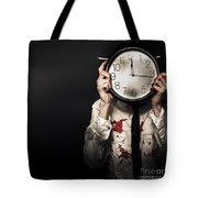 Dead Business Person Holding End Of Time Clock Tote Bag