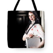 Dead Female Zombie Worker Holding Briefcase Tote Bag