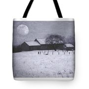December Moonrise Farmstead Tote Bag