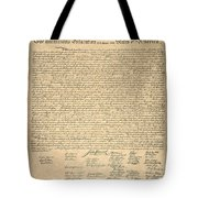 Declaration Of Independence Tote Bag