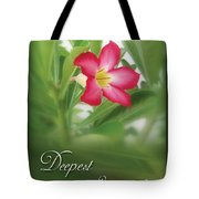 Deepest Sympathies Greeting Card Tote Bag