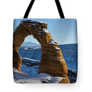 Delicate Arch With Snow Arches National Park Utah Tote Bag