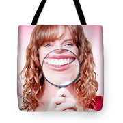 Dentist Showing White Teeth In A Dental Checkup Tote Bag