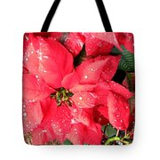 Diamond Encrusted Poinsettias Tote Bag