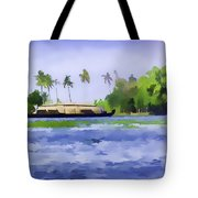 Digital Oil Painting - A Houseboat On Its Quiet Sojourn Through The Backwaters Of Allep Tote Bag