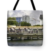 Digital Oil Painting - Visitors On Viewing Plaza On Singapore River Next To The Merlion Tote Bag