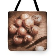 Digital Painting Of Brown Onions On Kitchen Table Tote Bag