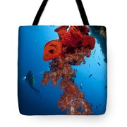 Diver Looks On At A Bright Red Soft Tote Bag