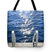 Dock On Summer Lake With Sparkling Water Tote Bag